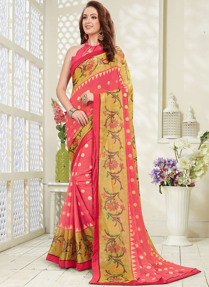 Multi Colour Brasso Abstract Print Printed Saree