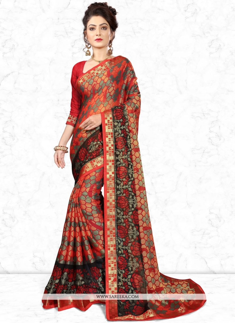 Multi Colour Brasso Casual Saree