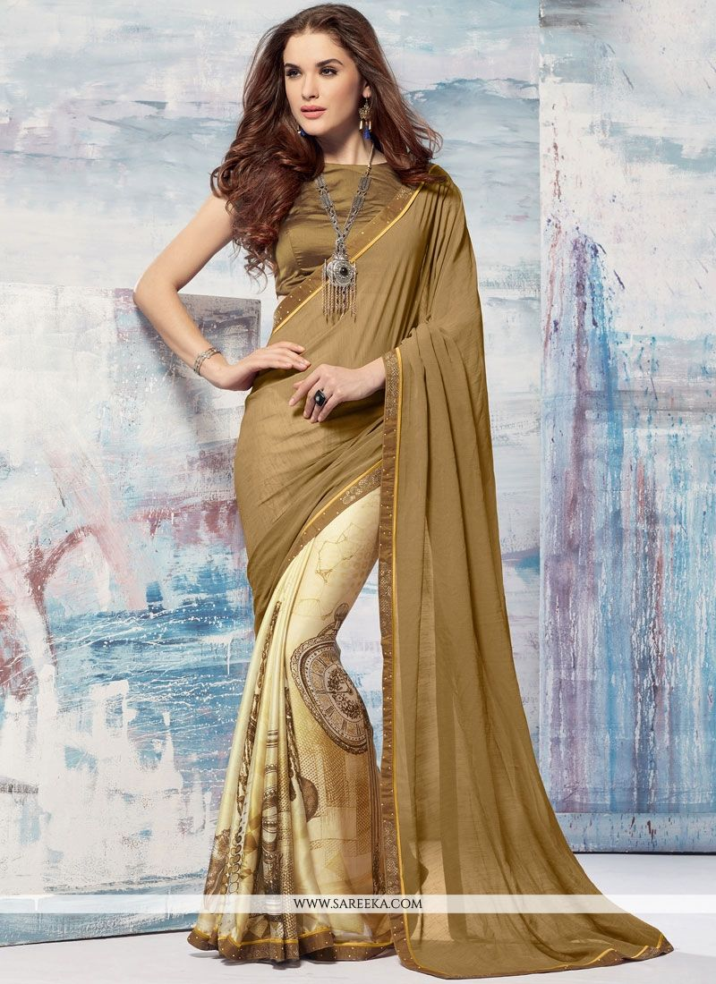 Multi Colour Brasso Georgette Printed Saree