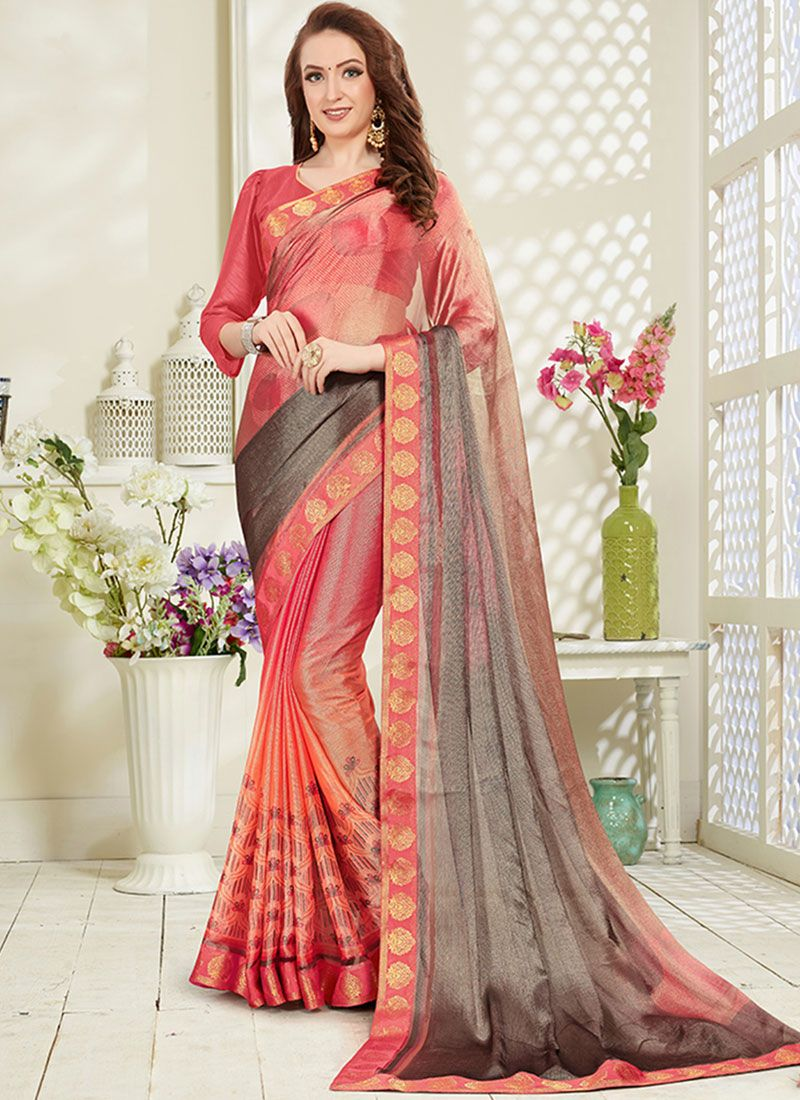 Multi Colour Brasso Printed Saree
