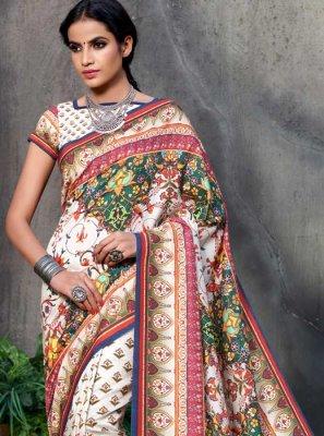 Multi Colour Ceremonial Tussar Silk Traditional  Saree