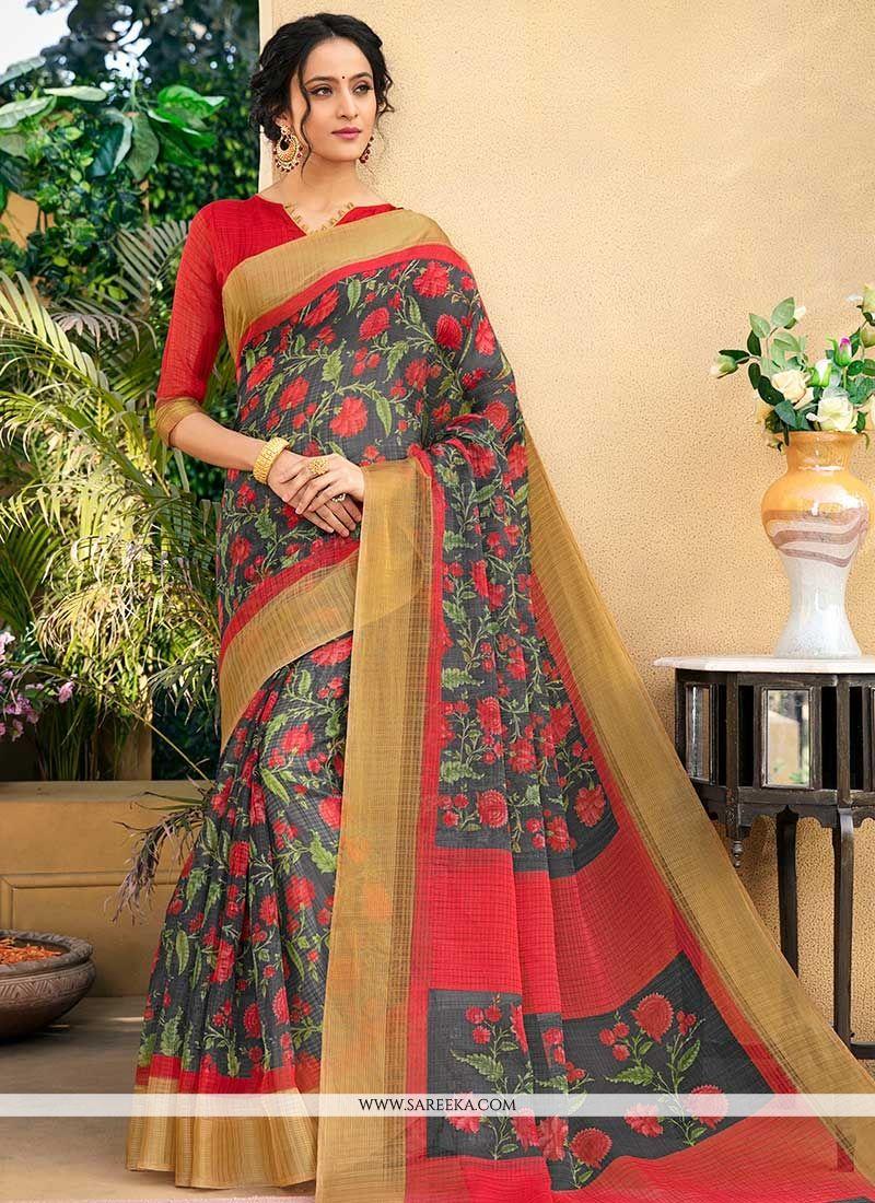 Multi Colour Chanderi Printed Saree