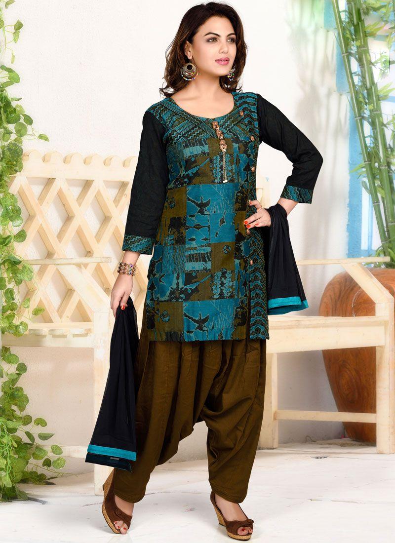 Multi Colour Chanderi Salwar Suit