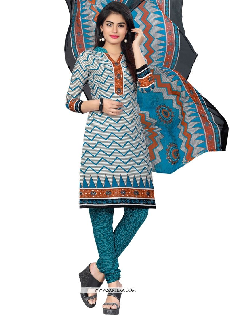 Multi Colour Cotton   Churidar Suit