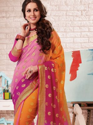 Multi Colour Crepe Silk Festival Shaded Saree