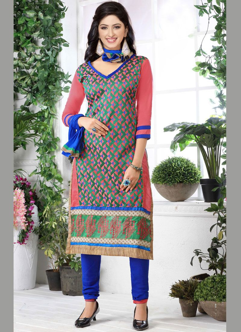 Multi Colour Embroidered Cotton   Designer Straight Suit