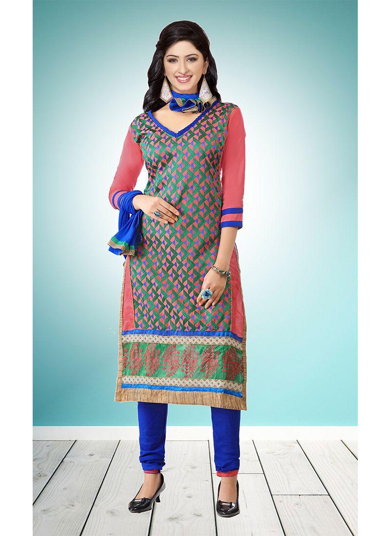 Multi Colour Embroidered Designer Straight Suit