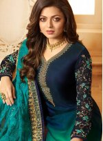 Multi Colour Embroidered Georgette Churidar Salwar Kameez
