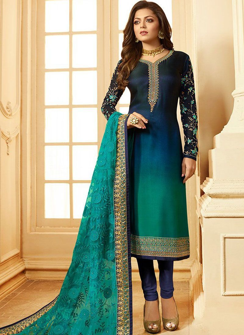 Multi Colour Embroidered Georgette Churidar Salwar Kameez