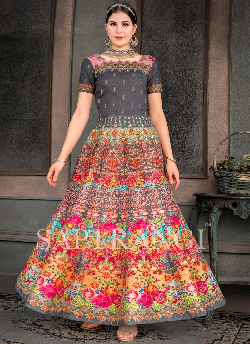 Multi Colour Embroidered Wedding Designer Gown