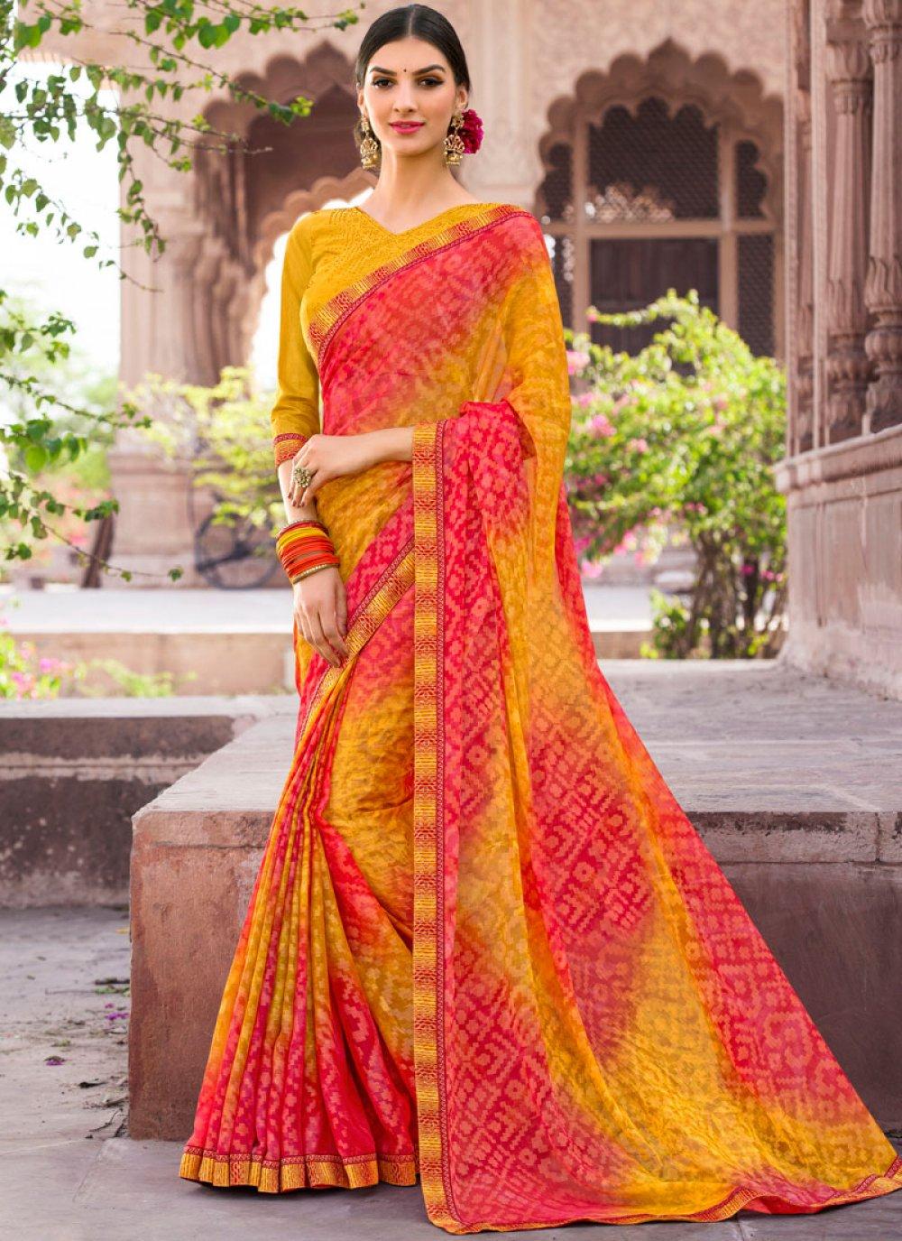 Multi Colour Embroidered Work Brasso Classic Saree
