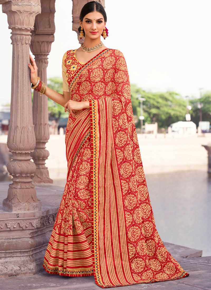 Multi Colour Embroidered Work Brasso Saree