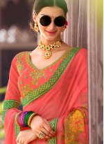 Multi Colour Embroidered Work Classic Saree