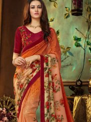 Multi Colour Faux Georgette Party Printed Saree