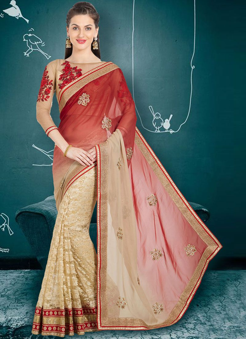 Multi Colour Faux Georgette Party Shaded Saree
