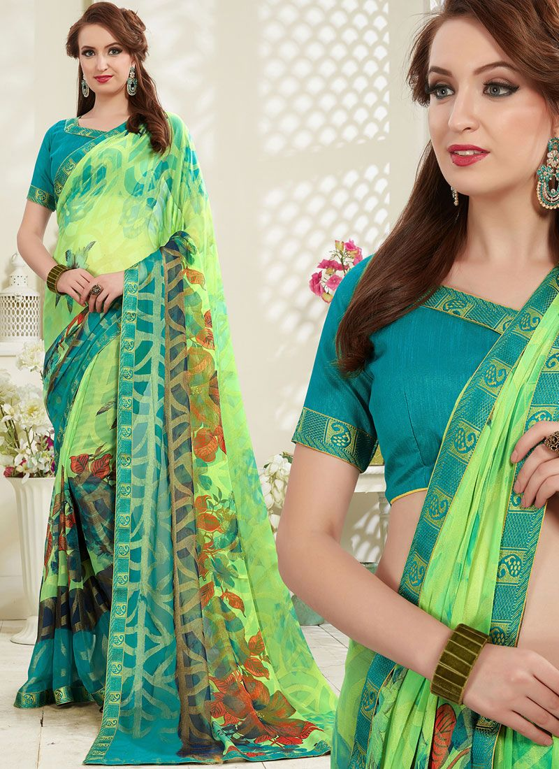 Multi Colour Festival Brasso Printed Saree