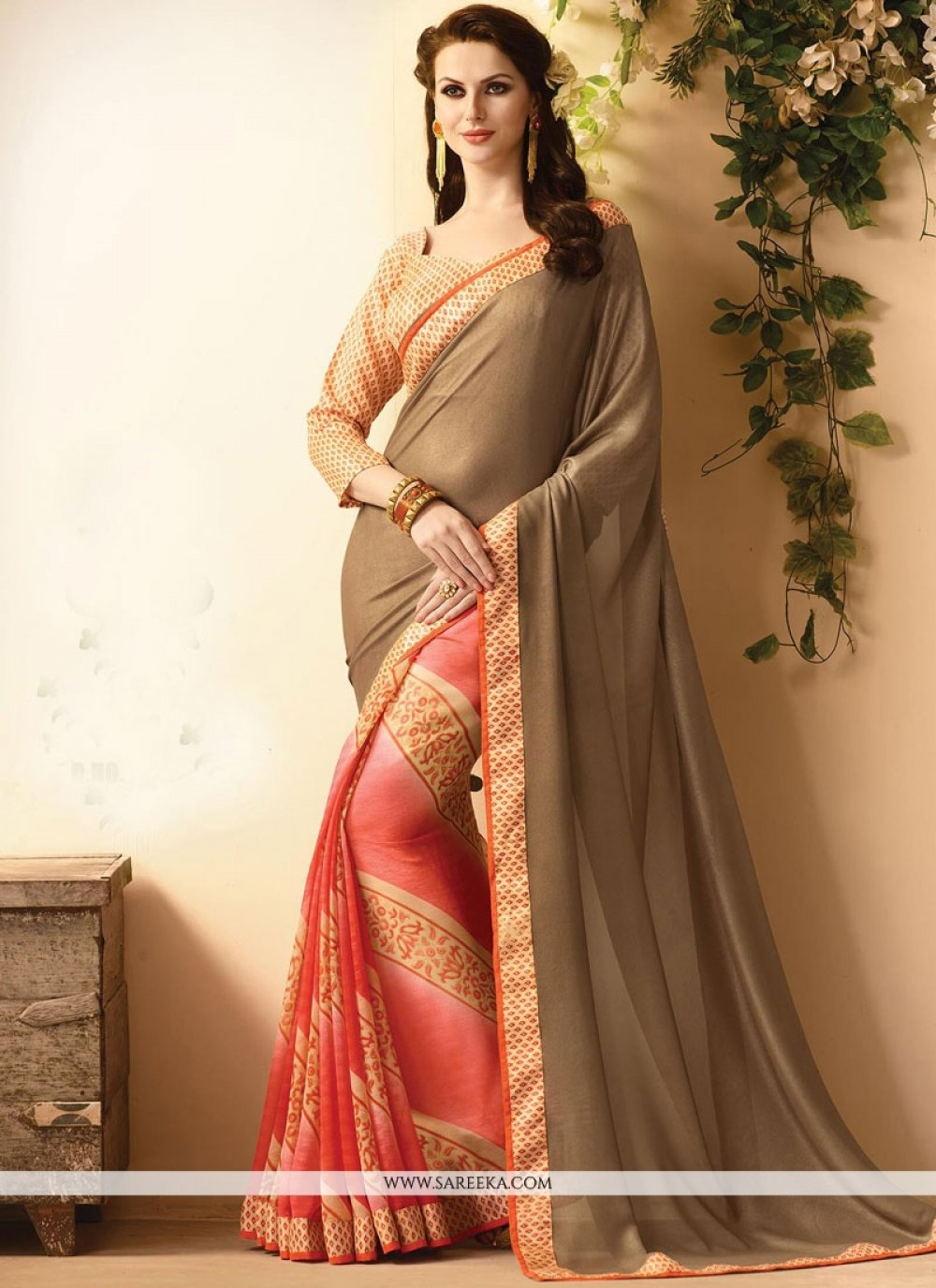 Multi Colour Lace Work Faux Georgette Casual Saree