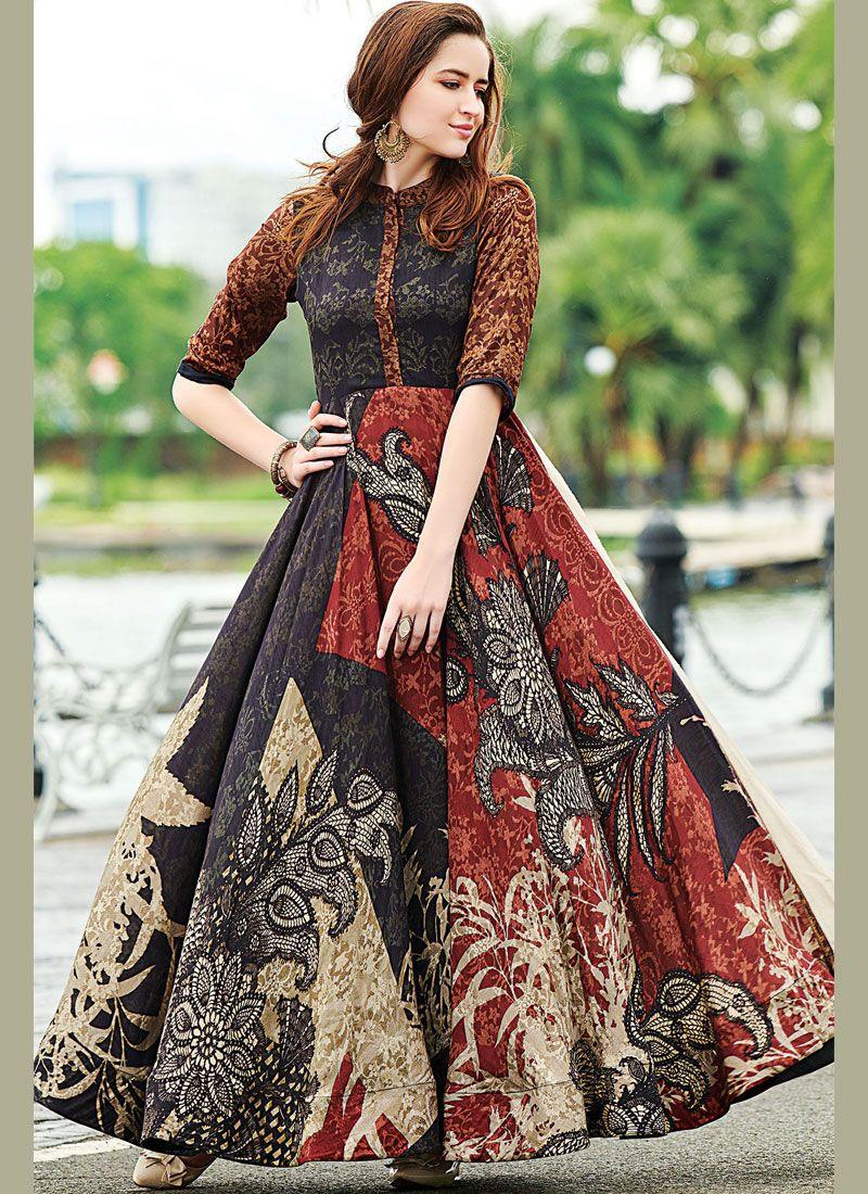 Multi Colour Party Designer Gown