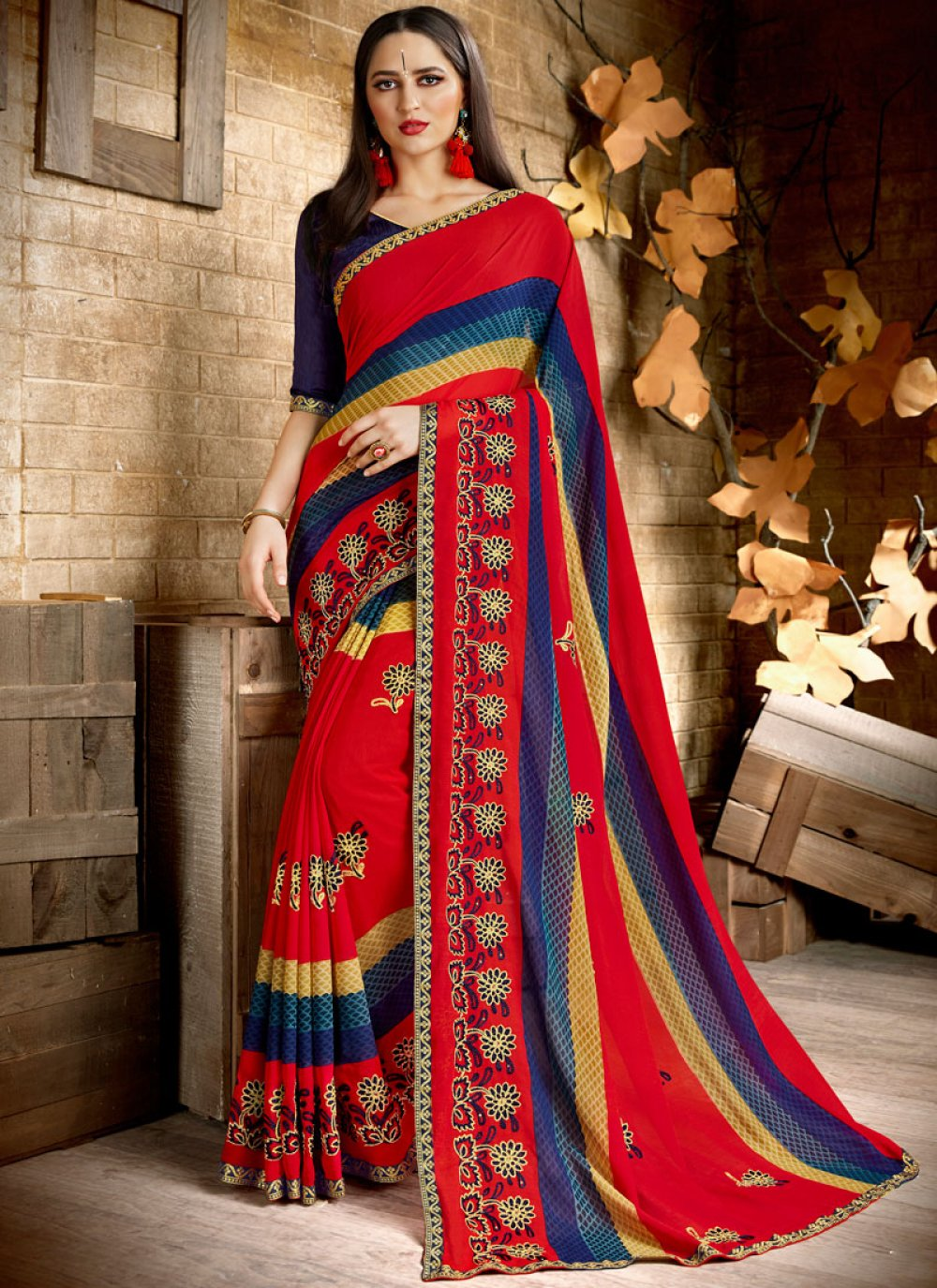 Multi Colour Print Casual Printed Saree