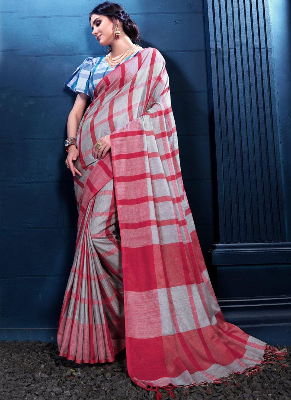 Multi Colour Print Linen Designer Saree