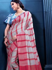 Multi Colour Print Linen Designer Saree