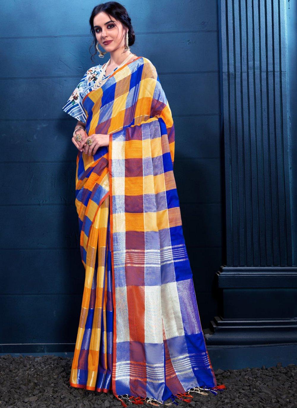 Multi Colour Print Linen Trendy Saree