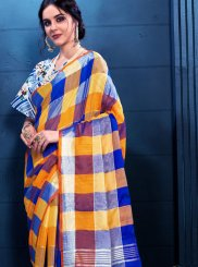 Multi Colour Print Linen Trendy Saree