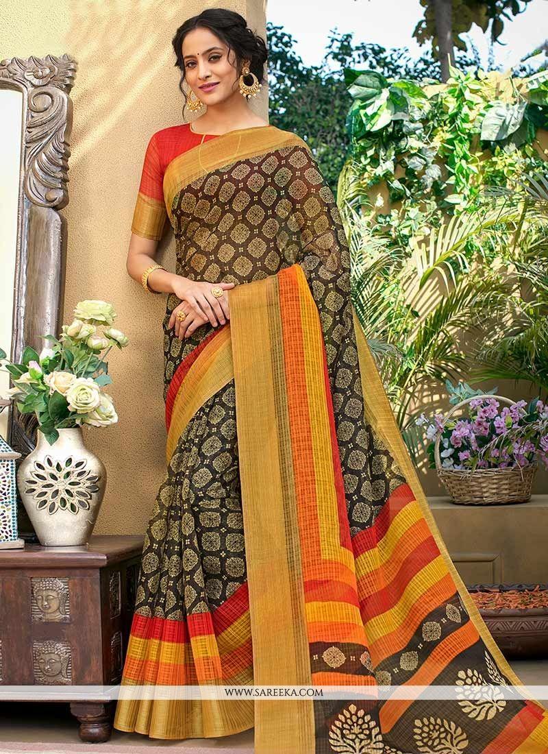 Multi Colour Print Work Chanderi Printed Saree