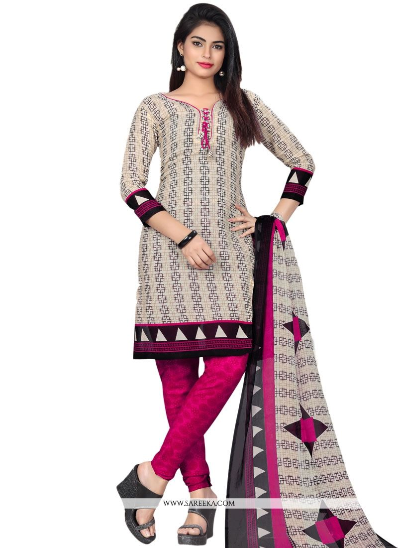Multi Colour Print Work Churidar Suit