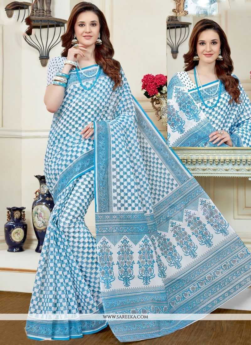 Multi Colour Print Work Cotton   Casual Saree