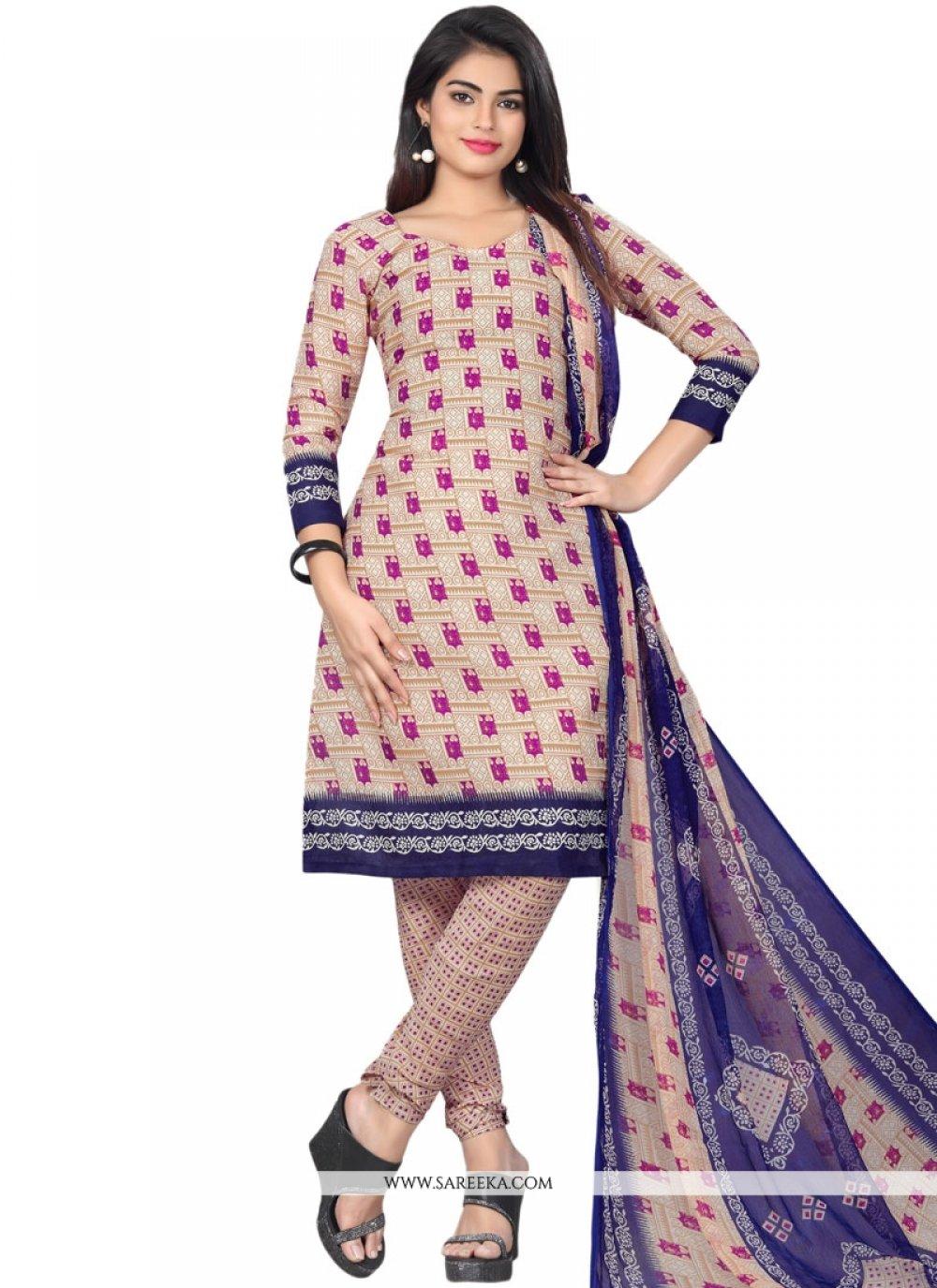 Multi Colour Print Work Cotton   Churidar Suit