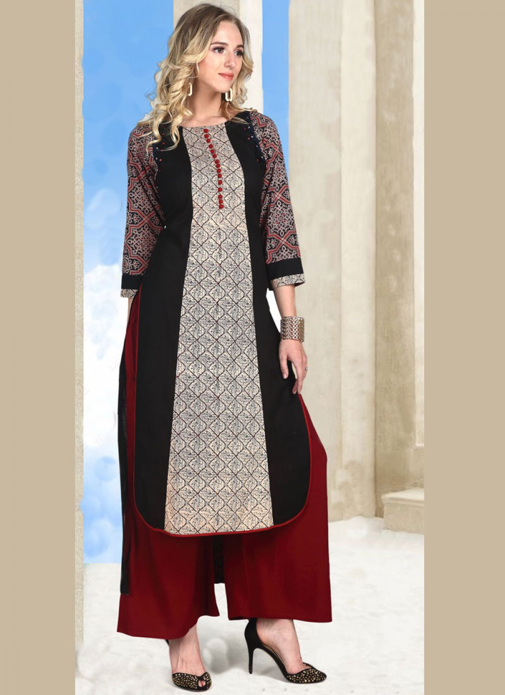 Multi Colour Print Work Cotton   Party Wear Kurti