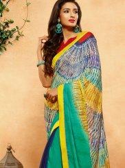 Multi Colour Print Work Crepe Jacquard Printed Saree