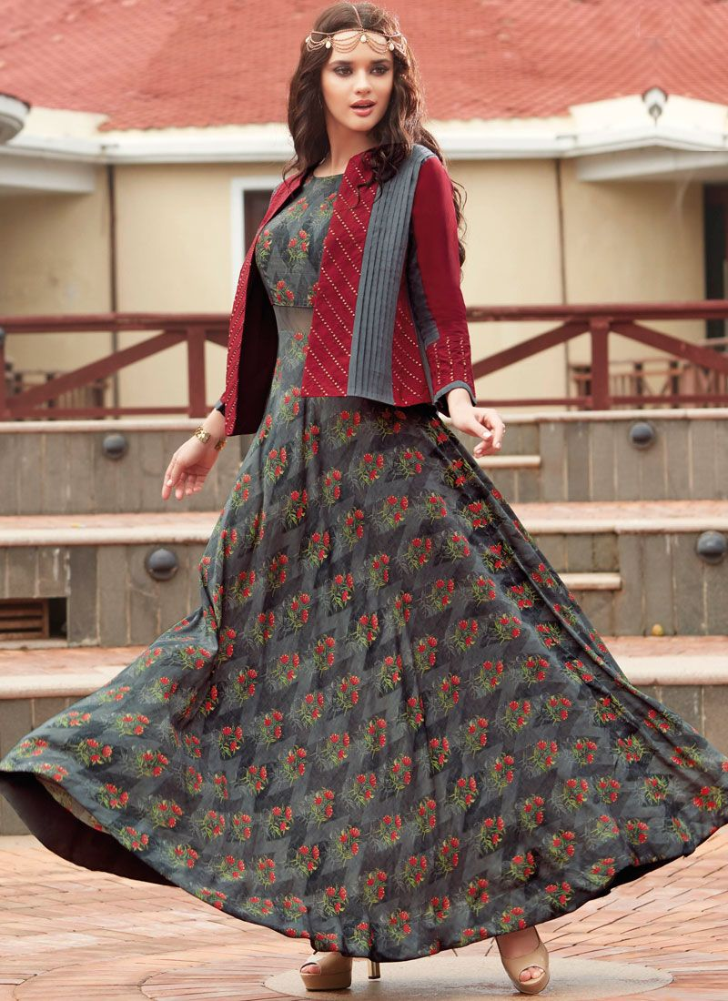 Multi Colour Print Work Party Wear Kurti