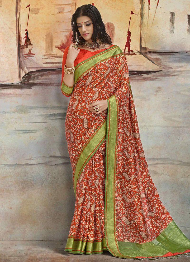 Multi Colour Print Work Printed Saree