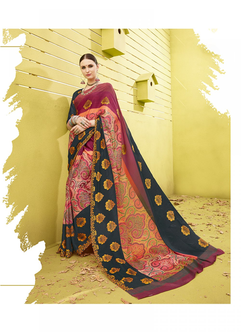 Multi Colour Printed Work Printed Saree