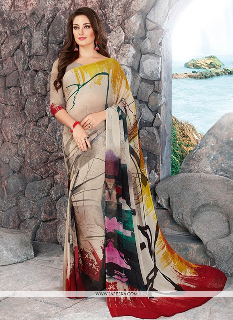 Multi Colour Printed Work Work Georgette Casual Saree