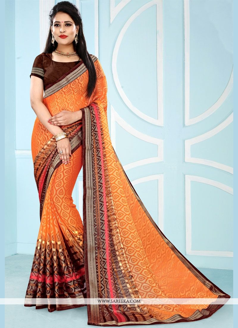 Multi Colour Pure Chiffon Casual Saree