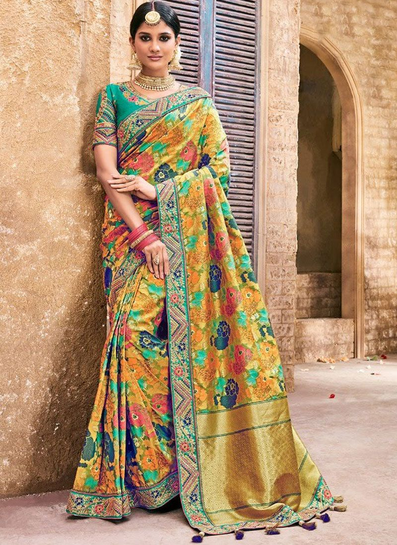Multi Colour Resham Mehndi Trendy Saree