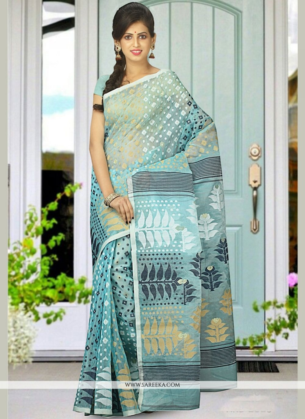 Multi Colour woven Work Cotton Silk Designer Traditional Saree