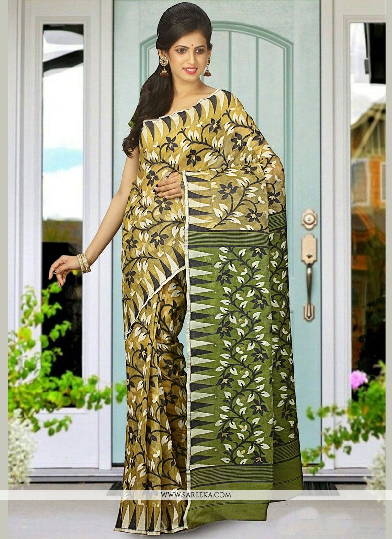 Multi Colour woven Work Cotton Silk Traditional Designer Saree