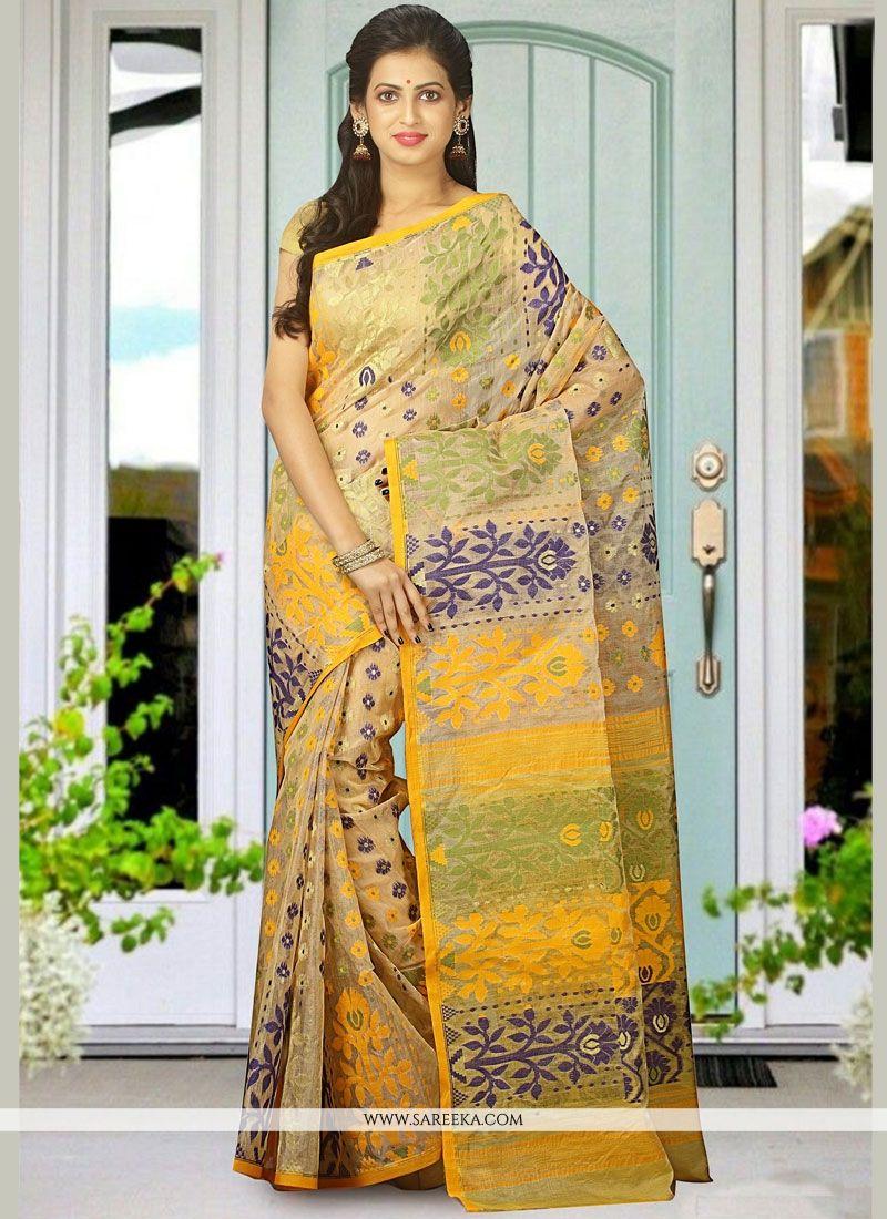 Multi Colour woven Work Cotton Silk Traditional  Saree