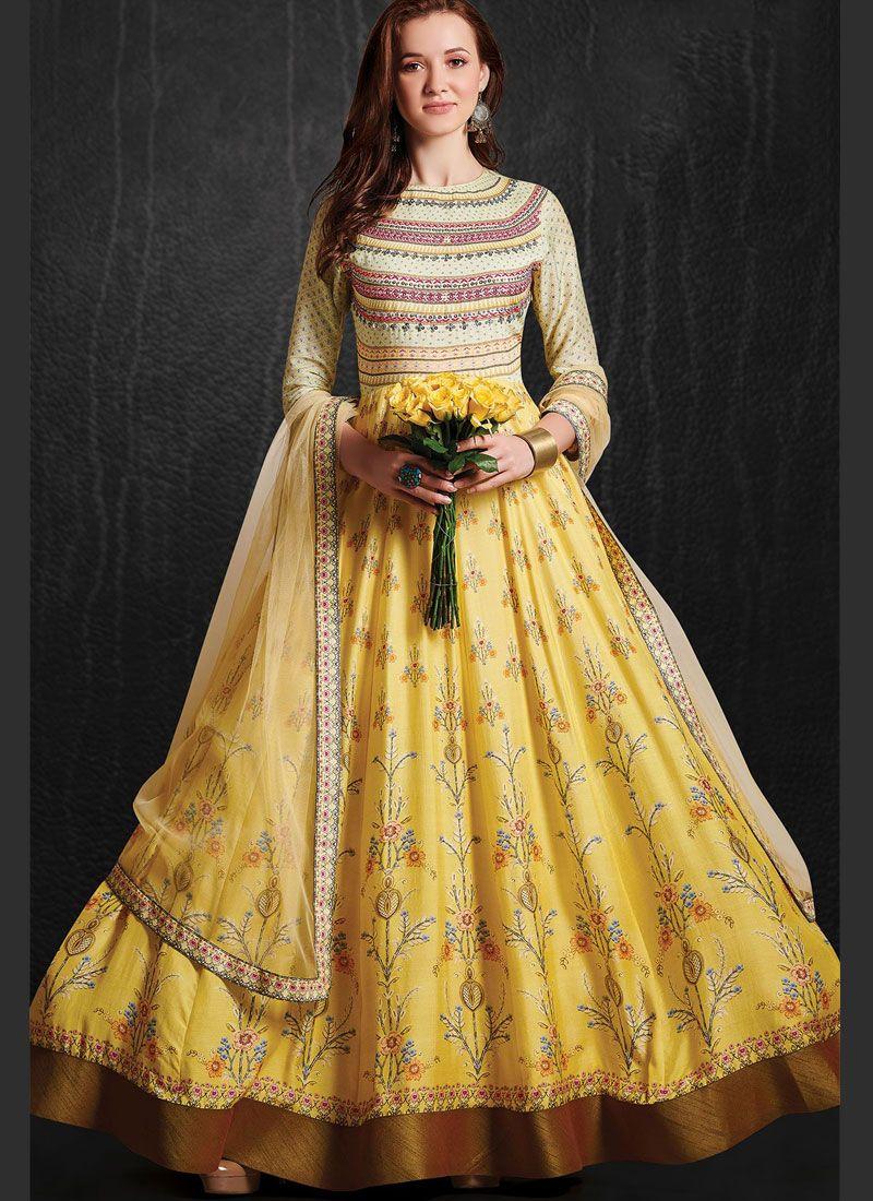 Muslin Yellow Print Readymade Gown