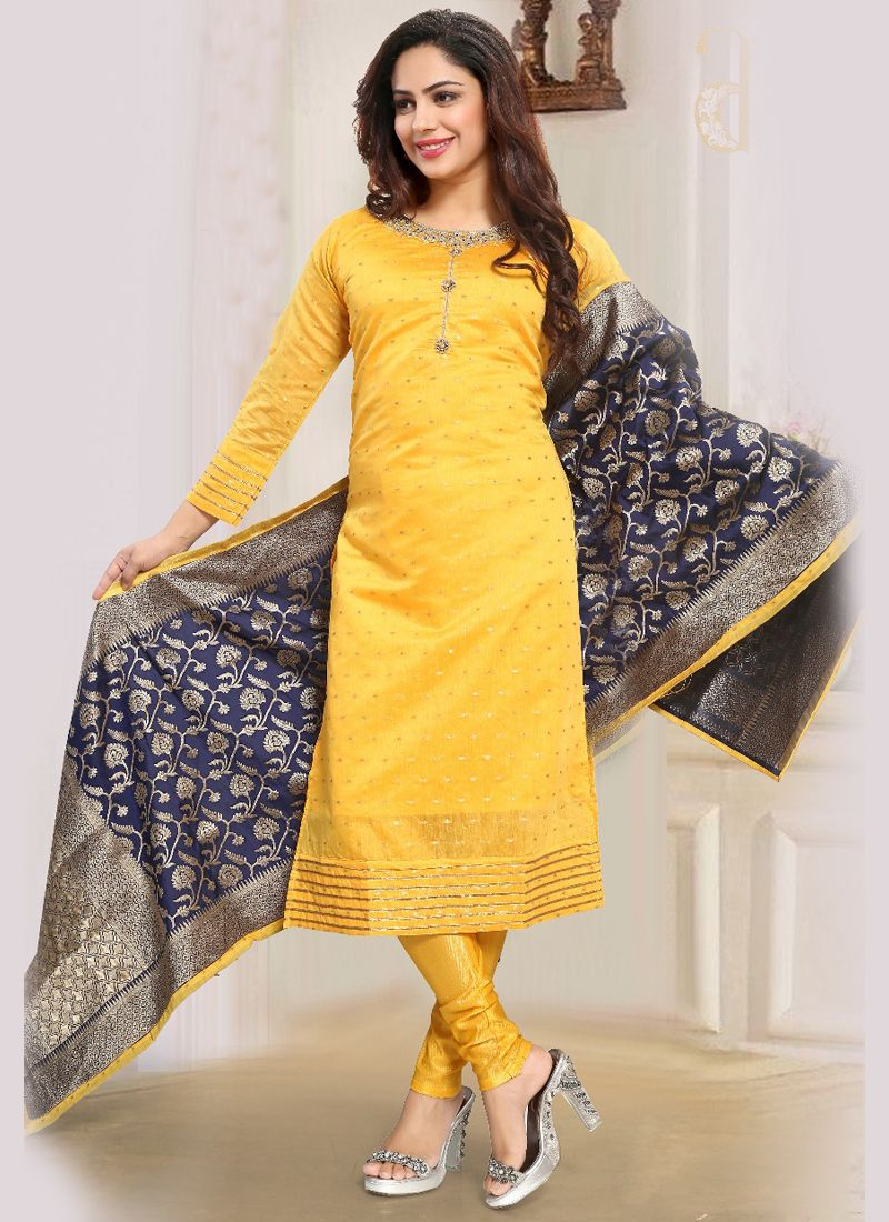 Mustard Art Silk Embroidered Readymade Suit