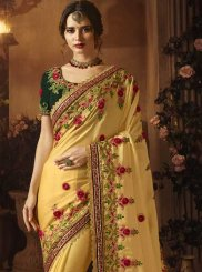 Mustard Embroidered Art Silk Traditional Designer Saree