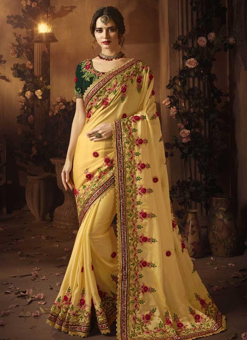 5f21eb807b Shop Online Mustard Embroidered Art Silk Traditional Designer Saree : 96706  -