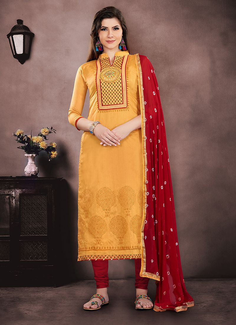 7f6a9833bf Buy Mustard Embroidered Chanderi Salwar Suit Online : 90791 -