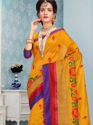 Mustard Embroidered Work Art Silk Cotton Traditional  Saree