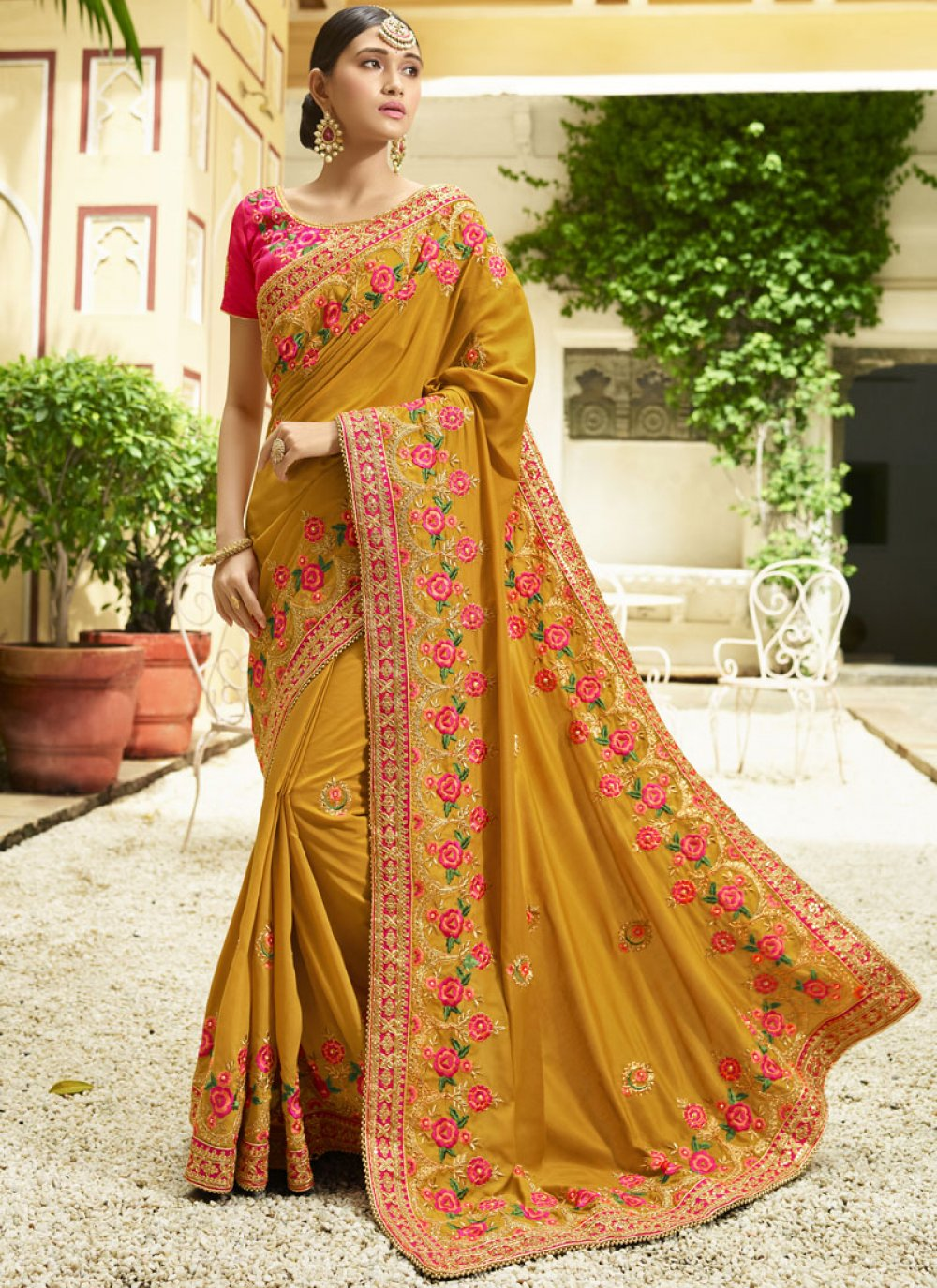 Mustard Embroidered Work Trendy Saree