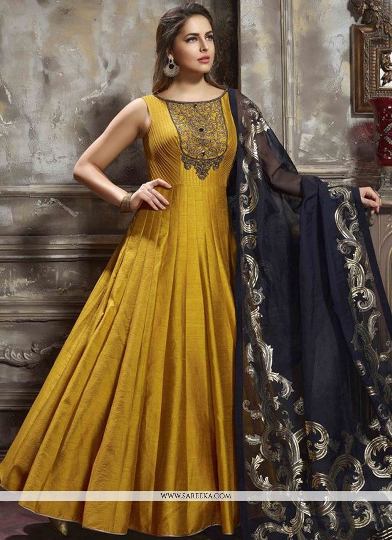 d8a86926697 Shop Mustard Readymade Anarkali Suit Online   74915 -